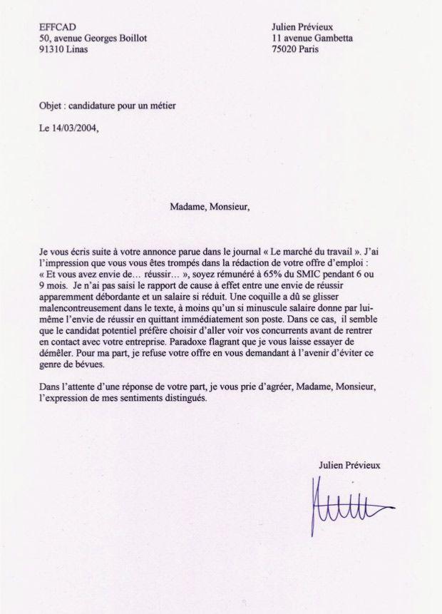 Lettres de non-motivation – Fünf Gemüse
